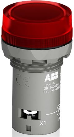 ABB Red LED Pilot Light, 22.3mm Cutout, IP66, IP67, IP69K, Round, 24 V ac/dc, 16 mA