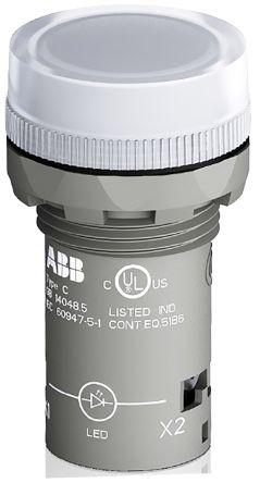 ABB Clear LED Pilot Light, 22.3mm Cutout, IP66, IP67, IP69K, Round, 230 V ac, 17 mA