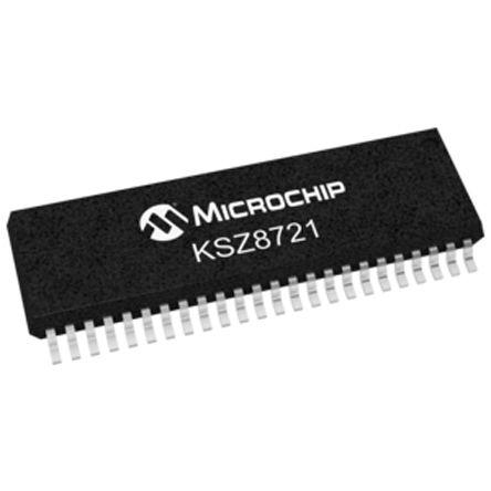 Microchip KSZ8721SL Ethernet Transceiver, IEEE 802 3u, 100MBps 3 3 V,  48-Pin SSOP