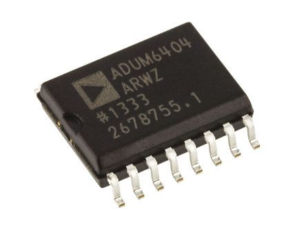ADUM6404ARWZ Analog Devices, PCB SMT, 4-Channel Digital Isolator 1MBps, 5 kVrms, 16-Pin SOIC