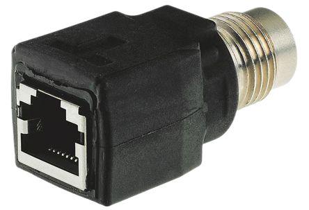 4 Pole M12 Socket to 8 Pole RJ45 Socket Adapter, 46mm product photo