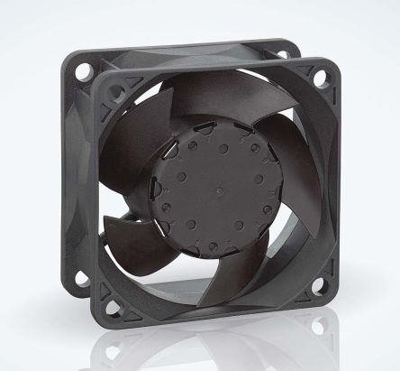 ebm-papst 630 Series Axial Fan, 60 x 60 x 25.4mm, 44m³/h, 1.5W, 12 V dc, IP68