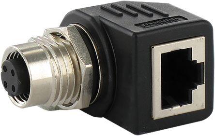 Right Angle 4 Pole M12 Socket to 1 Pole RJ45 Socket Adapter product photo