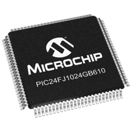 Microchip PIC24FJ1024GB610-I/PT, 16bit PIC Microcontroller, 32MHz, 1 024 MB  Flash, 100-Pin TQFP