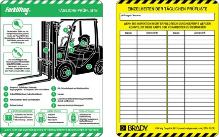 Brady Forklift Tag, Black on Blue, Green