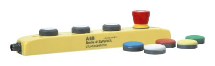ABB Smile 41 4NO Push Button Control Station, IP65 60mm Yellow 260mm 4 Blue, Green, Red, White, Yellow 40mm