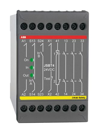 ABB JSBT4 24 V dc Safety Relay Dual Channel with 3 Safety Contacts and 1 Auxilary Contact
