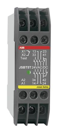 JSBT5 Safety Relay, Dual Channel, 24 V ac/dc, 3 Safety, 1 Auxiliary