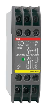 ABB JSBT5 24 V ac/dc Safety Relay Single Channel with 3 Safety Contacts and 1 Auxilary Contact