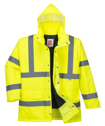 Outdoor Look High Visibility Viz Reflective Yellow Mens Safety Workwear Bomber Coat Jacket