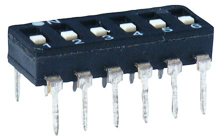 4 Way PCB DIP Switch 4PST, Flat Actuator