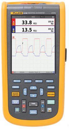 Fluke 123 Series 123B ScopeMeter Digital Oscilloscope, Handheld, 2 Channels, 20MHz