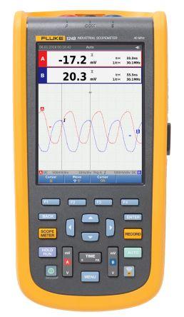 Fluke 124 Series 124B ScopeMeter Digital Oscilloscope, Handheld, 2 Channels, 40MHz