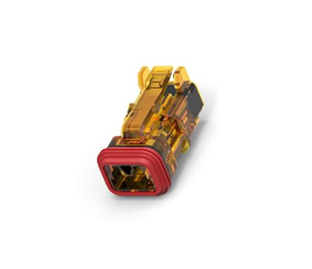 Deutsch DT Series, 1 Row 2 Way Free Hanging Plug Connector Housing, with Crimp Termination Method