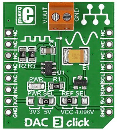 MikroElektronika MIKROE-2038 DAC3 Click DAC Add On Board for MCP4726 for mikroBUS