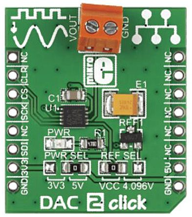 MikroElektronika MIKROE-1918 DAC2 Click DAC Add On Board for LTC2601CDD for mikroBUS