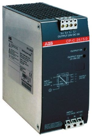 CP-S Switch Mode DIN Rail Panel Mount Power Supply, 120W, 24V dc/ 5A