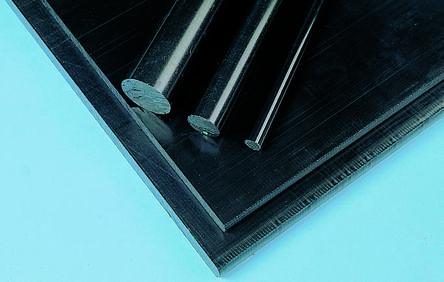 RS PRO Black Acetal Rod, 1m x 12mm Diameter