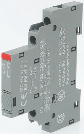 Side Mount Auxiliary Contact, 2NC, 2 A dc, 6 A ac, 220 V dc, 400 V ac