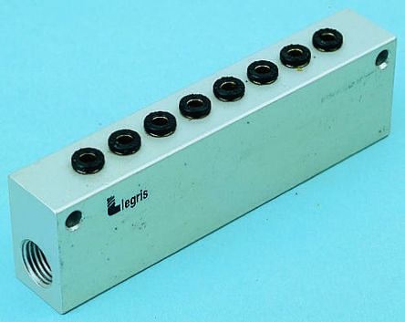 Legris 6 stations G 1/2 Manifold, Aluminium 1/2 in G