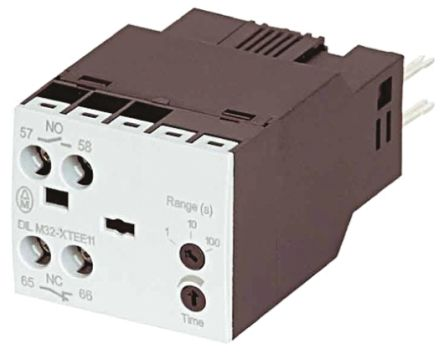 DILM Series Analogue (OFF Delay) Electronic Timer, Range 0.05 -> 1s, NO/NC Contacts, 100 -> 130 V ac Coil product photo