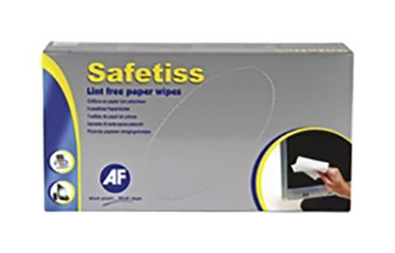 AF Box of 200 White Safetiss Paper Wipes for IT, Office Cleaning Use