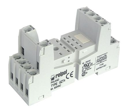 gzt4 black relpol 4 pin relay socket din rail for use with r4n rh uk rs online com 5 Pole Relay Wiring Diagram Relay Switch Wiring Diagram