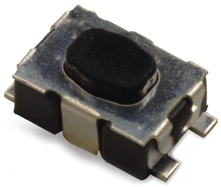 IP67 Black Button Tactile Switch, Single Pole Single Throw (SPST) 50 mA 2.11mm Surface Mount