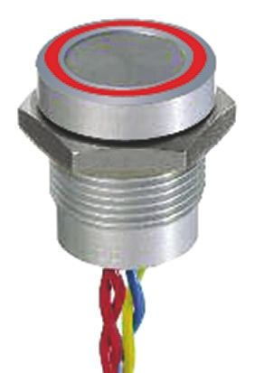 Illuminated Through Hole Piezo Switch, , IP68, 200 mA @ 24 V dc, Single Pole Single Throw (SPST), -40 → +75°C