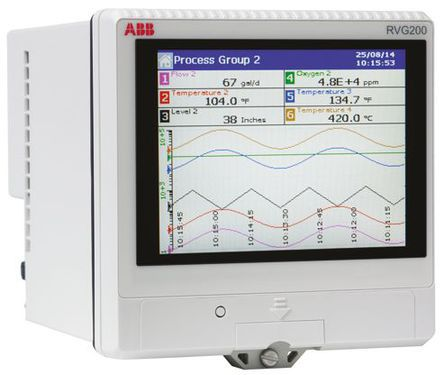ABB RVG200, 6 Channel, Paperless Chart Recorder Measures Current, Millivolt, Resistance, Temperature, Voltage