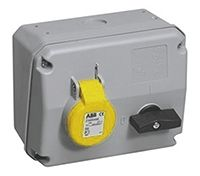 ABB Horizontal Switchable IP44 Interlocked Socket 2P+E, 16A, 100 → 130 V