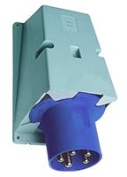 ABB Easy & Safe Series, IP44 Blue Panel Mount 2P+E Right Angle Industrial Power Plug, Rated At 63A, 200 → 250 V