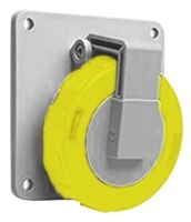 ABB CMA Series, IP67 Yellow Panel Mount 2P+E Industrial Power Socket, Rated At 32A, 100 → 130 V