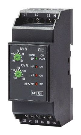 GIC Phase Voltage Monitoring Relay with DPDT Contacts 3 Phase 415