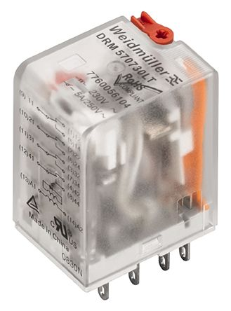Weidmuller DRM Series 110V Panel Mount Interface Relay Module 4PDT