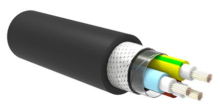 TE Connectivity 3 Core Tinned Copper Braid Industrial Cable, 2.5 mm² Black 50m Reel, C-Lite Series