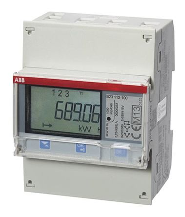 ABB B LCD Digital Power Meter, 7-Digits, 3 Phase , Class 1 % Accuracy