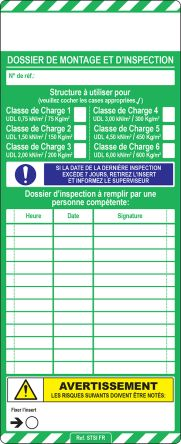 Scafftag Standard Insert,French,10