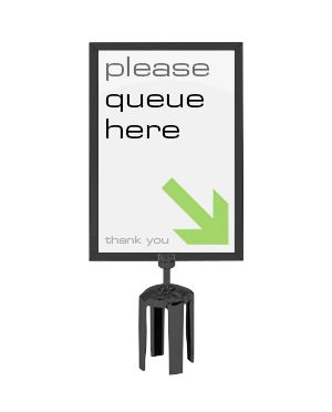 A4 Portrait Black Barrier & Stanchion Sign Frame for use with Barrier, 218 x 303mm product photo