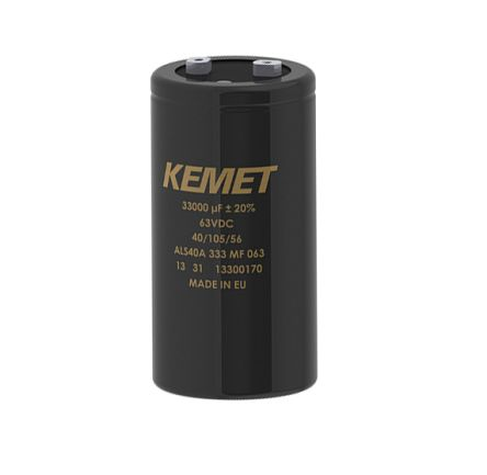 KEMET 16000μF 100V dc Aluminium Capacitor, Panel Mount 51 (Dia.) x 105mm +105°C 51mm 22.2mm