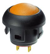 1P on-off switch Momentary Yellow LED Push Button Switch, IP67, 13.6 (Dia.)mm, Panel Mount, 32 V ac, 48 V ac, 50 V dc,