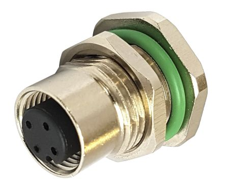 Bulgin PXM Series, 4 Pole Panel Mount M12 Circular Connector Plug, Female Contacts, IP67