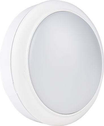 RS PRO, 8 W Round Cool White LED Bulkhead Light, Frosted, 240 V, Plastic, IP65, with White Diffuser