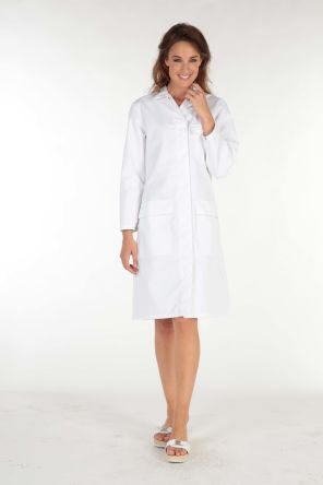 060BF91ASBLANC3 White Reusable Coat, L product photo