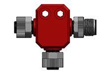 Brad Tee 4 Pole M12 Plug to 4 Pole M12 Socket Adapter, 56.5mm