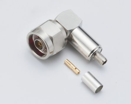 50O Right Angle Cable Mount N Type Connector, Plug, Solder Termination, 11GHz product photo
