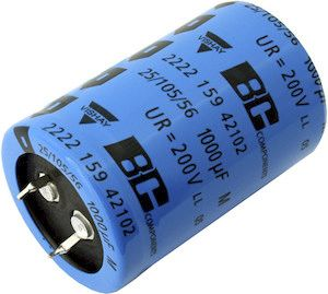Vishay Aluminium Electrolytic Capacitor 100μF 450V dc 23mm Snap-In 259 PHM-SI Series Aluminium, Through Hole