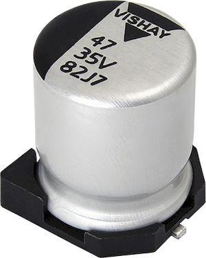 Vishay Hybrid Conductive Polymer Aluminium Capacitor 56μF 63V dc 10mm 1010 182 CPHZ Series Polymer, Surface Mount