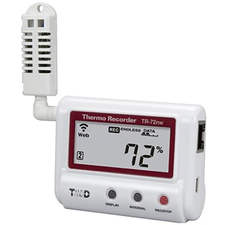 T&D Company TR-7wf/nw Humidity, Temperature Data Logger, Battery, USB Powered, LCD Display