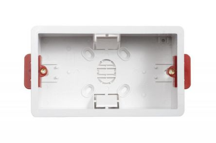 Contactum White PC Back Box, BS Standard, Drylining Mount, 2 Gangs